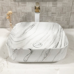 Elegant Ceramic Material Art Wash Basin White Marble Bathroom Sink