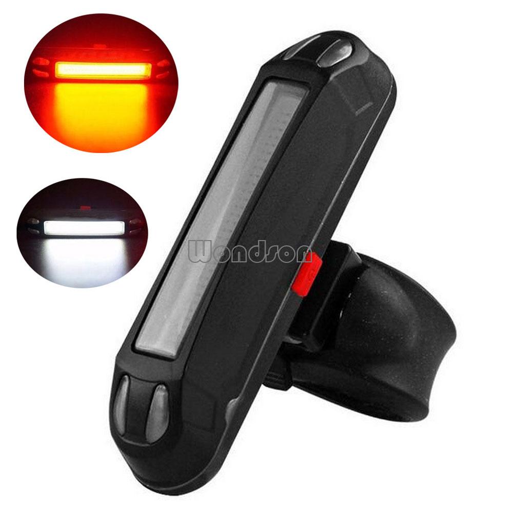 Luz de Seguridad Para Bicicleta LED USB Recargable Delantera Blanca Trasera Roja