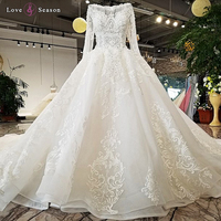 LS32171 100% real long sleeves O-neck see through body and back big puffy skirt wedding dress 2018 new design alibaba wholesale
