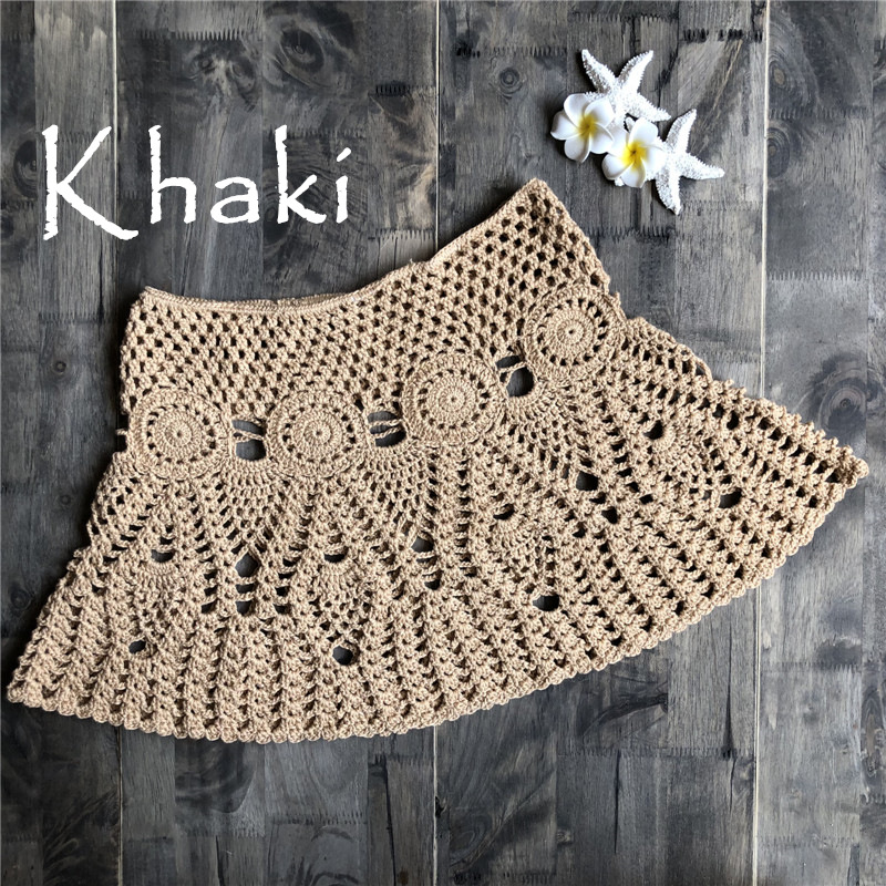 2019 wholesale beach dress crochet skirt women dresses handmade knitted mini skirt ladies sexy hollow out holiday Crochet Dress