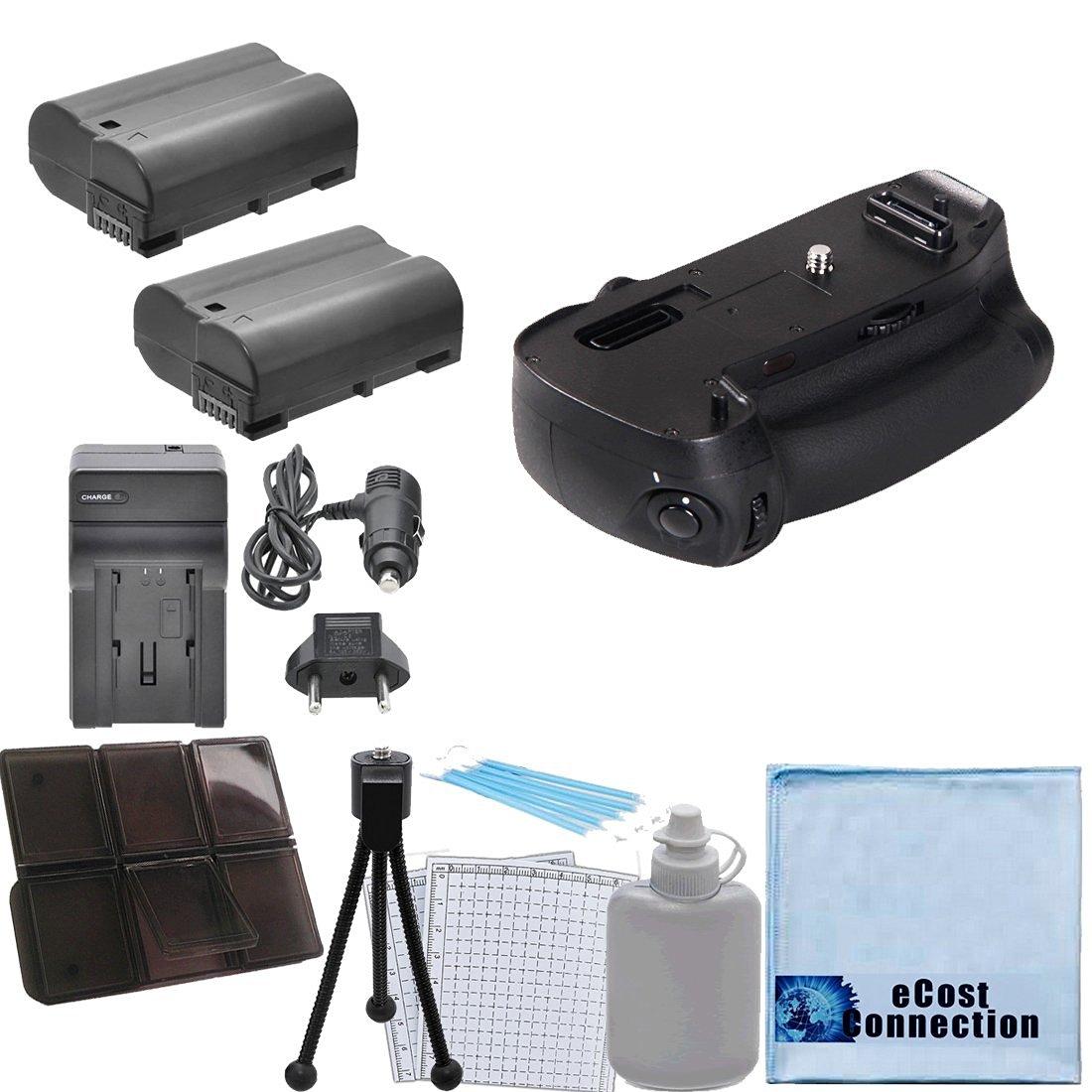Battery Grip for Nikon D750 DSLR Camera + 2 EN-EL15 Replacement Batteries + Car/Home Charger + Memory Card Case + eCost Starter Kit   MB-D16