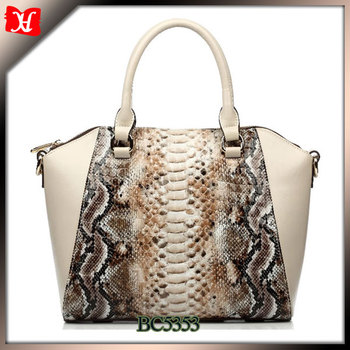 Fancy Exotic Python Snake Skin Leather Handbag