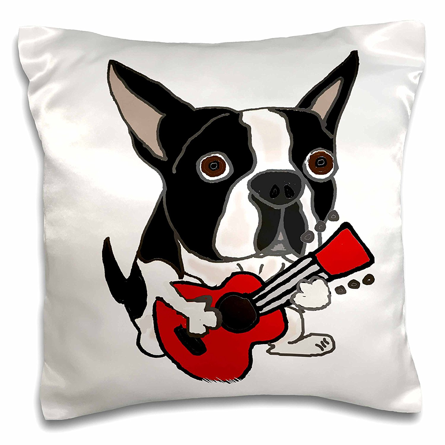 3dRose Funny Cute Boston Terrier Puppy Dog Playing Guitar Pillow Case, 16 x 16""