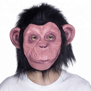 free sample charge popular funny latex monkey head mask chimp face mask for children and adults