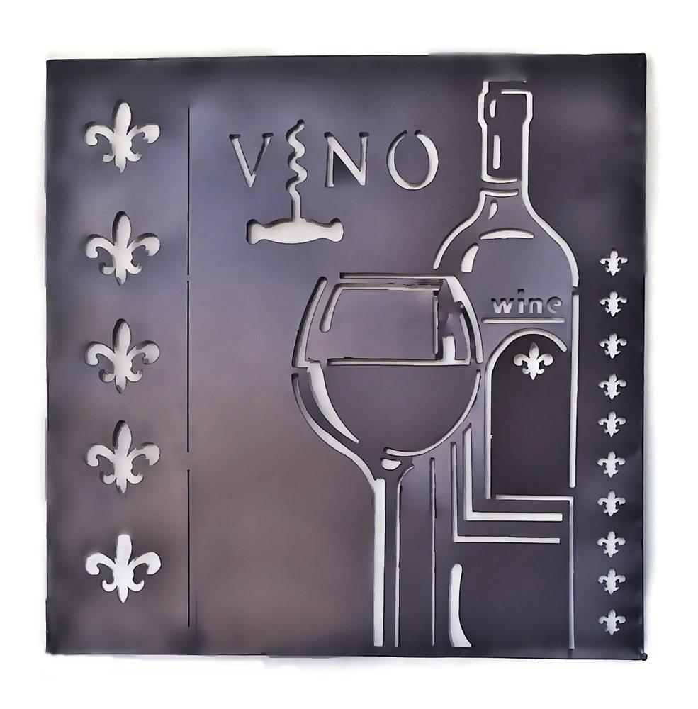 Metal Wall Sculptures Wine Vino Art Fleur De Lis