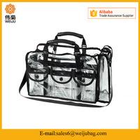 Wholesale vinyl Cosmetics travel bag Clear Pvc Makeup Bag with Removable Shoulder Strap,Large Clear PVC Set Bag