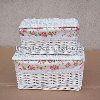 High Quality eco-friendly rectangular white large wicker storage baskets