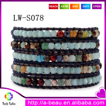 New Europe Style Fashion Jewelry 5 Layer Leather Beaded Bracelet With Natural Stones