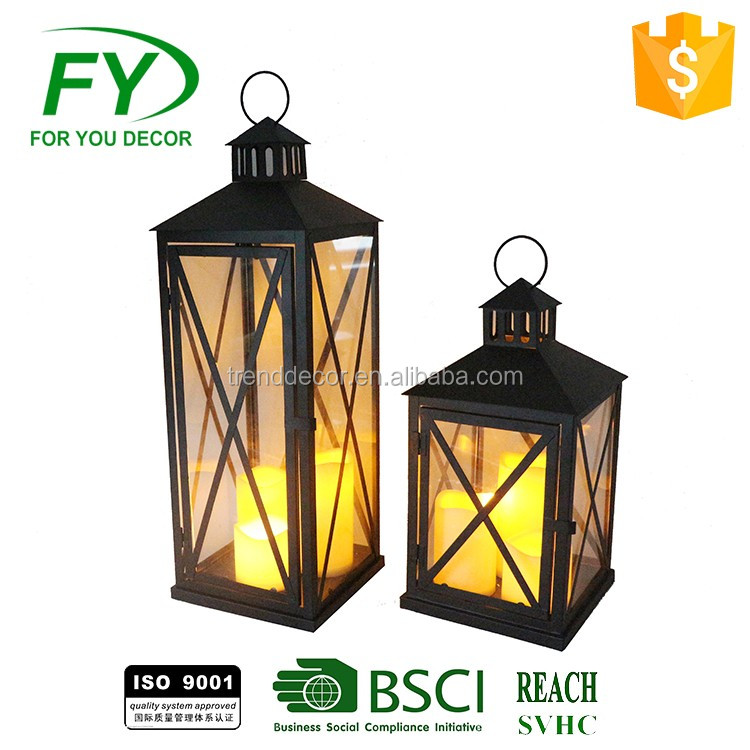 set of 2 outdoor camping metal chinese lantern candle holders