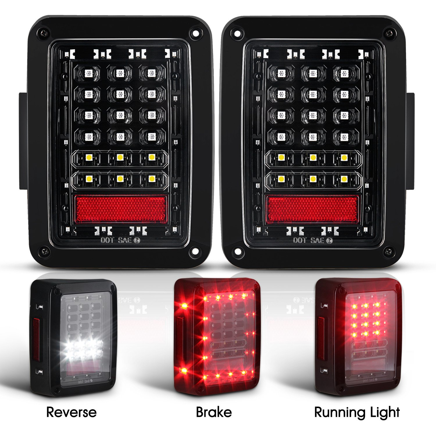 Get Quotations Jeep Wrangler Led Tail Lights Jk Brake Rear Reverse