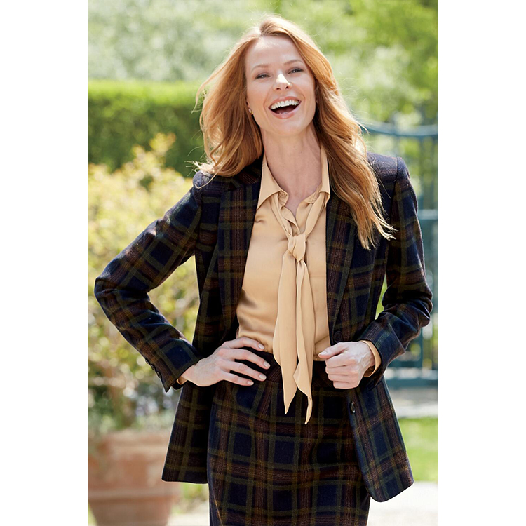 c5949294820 2017 last new custom ladies office wear blazer women jacket olive green  plus size plaid printed
