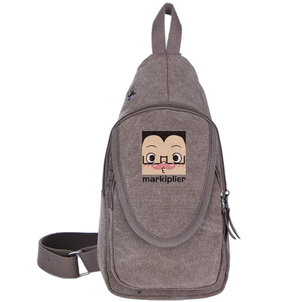Squared Markiplier Warfstache Outdoor Sports Casual Canvas Unbalance Backpack Crossbody Sling Bag Shoulder Bag Chest Bag For Men