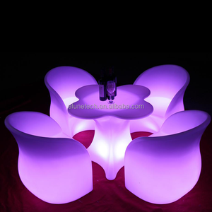remote control rgb color changing battery powered plastic material and bar furniture type led dining chairs and tables