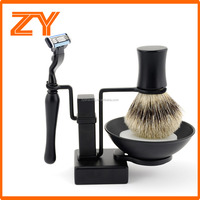 ZY Cool Frosted Black Shave Stand Safety Razor Brush Mug Shaving Soap Gift Set