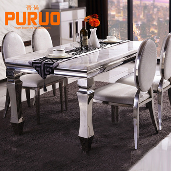 898CZ Modern Design Stainless Steel Top Artificial Marble Dining Table Part 95