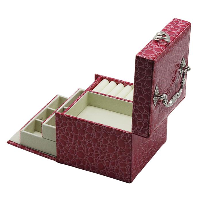 Caso pulseira de couro jóias caixa de armazenamento com gaveta Para meninas