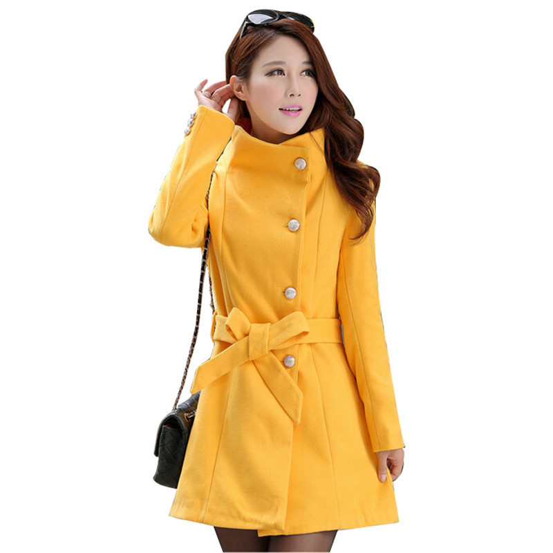 5e8e15e3e6a5d Get Quotations · Winter Coat Women2015Sashes OL Casaco Feminino Plus Size  Woolen Trench Coat Female Slim Overcoat White Stand