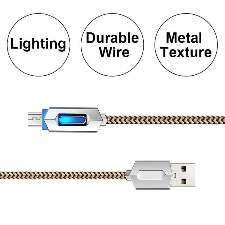 Wholesales high quality zinc alloy led light braided data cable for samsung charger usb , fast charging micro usb cable