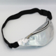 Holographic Laser PU Waist Bag Waterproof Reflective Mirror Surface White Fanny Pack