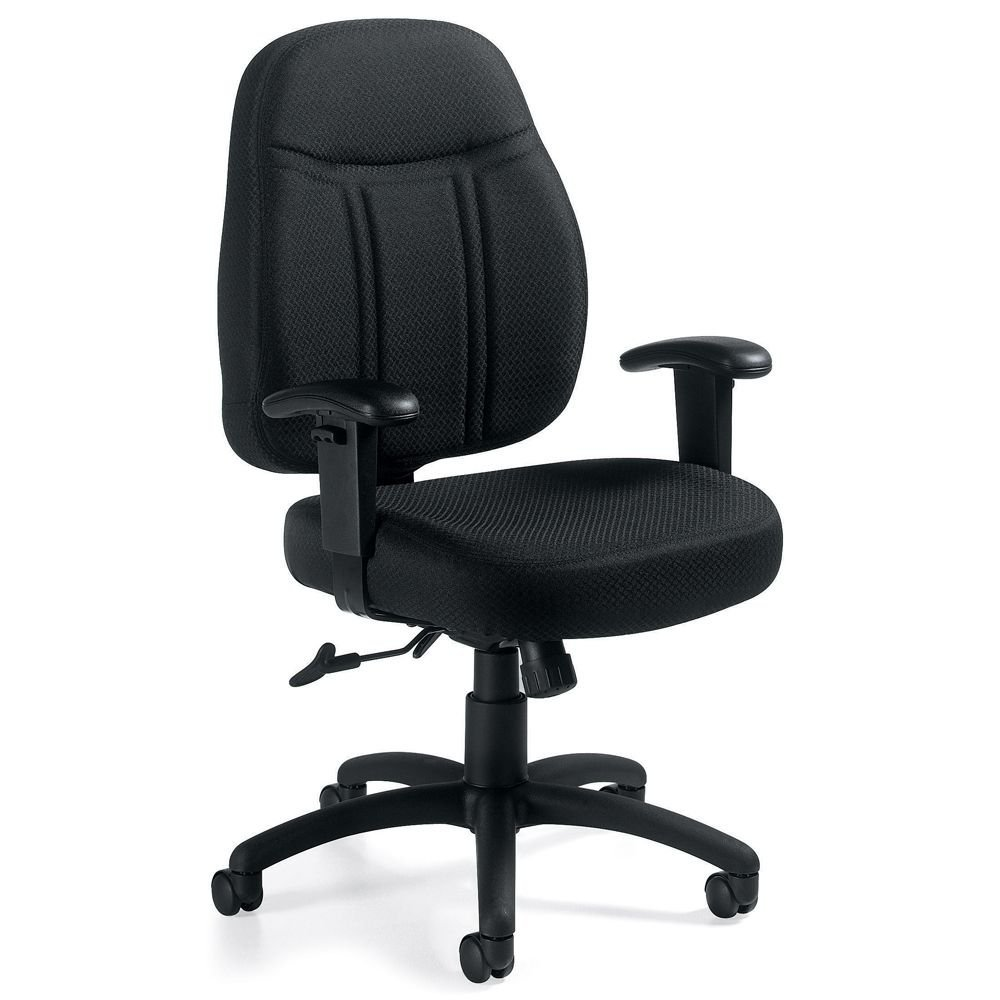 """Astor Fabric Low-Back Task Chair with Adjustable Arms Dimensions: 24""""W x 25""""D x 40""""H Seat Dimensions: 19.5""""Wx18.5""""Dx16-20""""H Weight: 36 lbs. QL10 Black Fabric/Black Frame"""