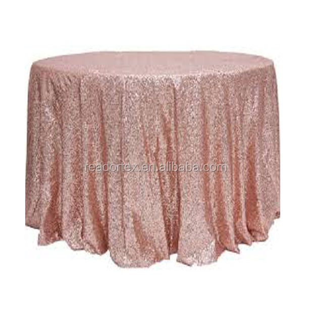 "132""round sequin mesh embroidery tablecloth"