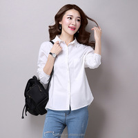 China supplier new style white long sleeve cotton elegant women formal blouse designs