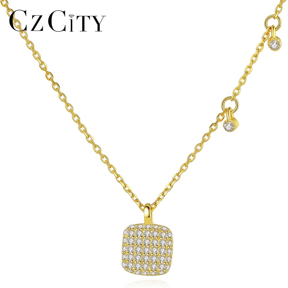 CZCITY S925 Sterling <strong>Silver</strong> 18K Gold Plated Elegant Square Pendant Necklace for Women