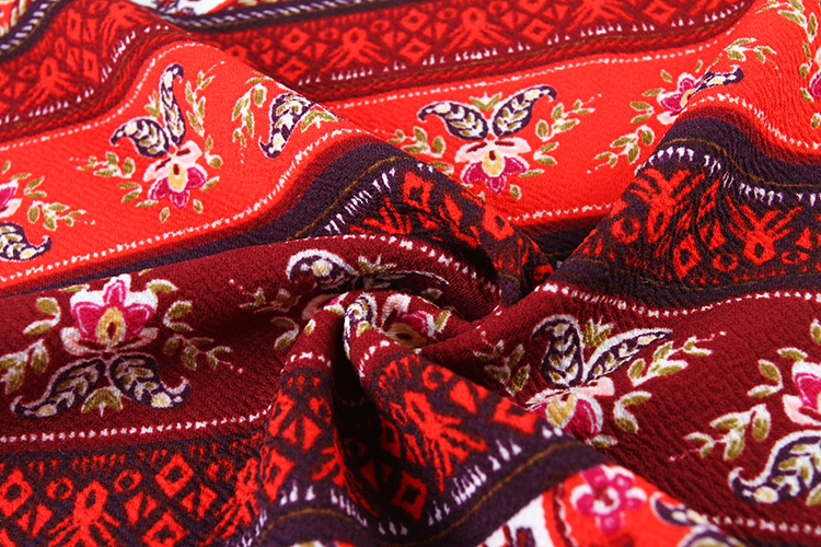 Shaoxing factory custom red traditional printed scuba stretch polyester knit liverpool fabric
