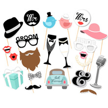 Party Funny Mask DIY Mr Mrs Bride Groom Photobooth Bridal Shower Decoration Just Married Centerpieces Wedding Photo Booth Props