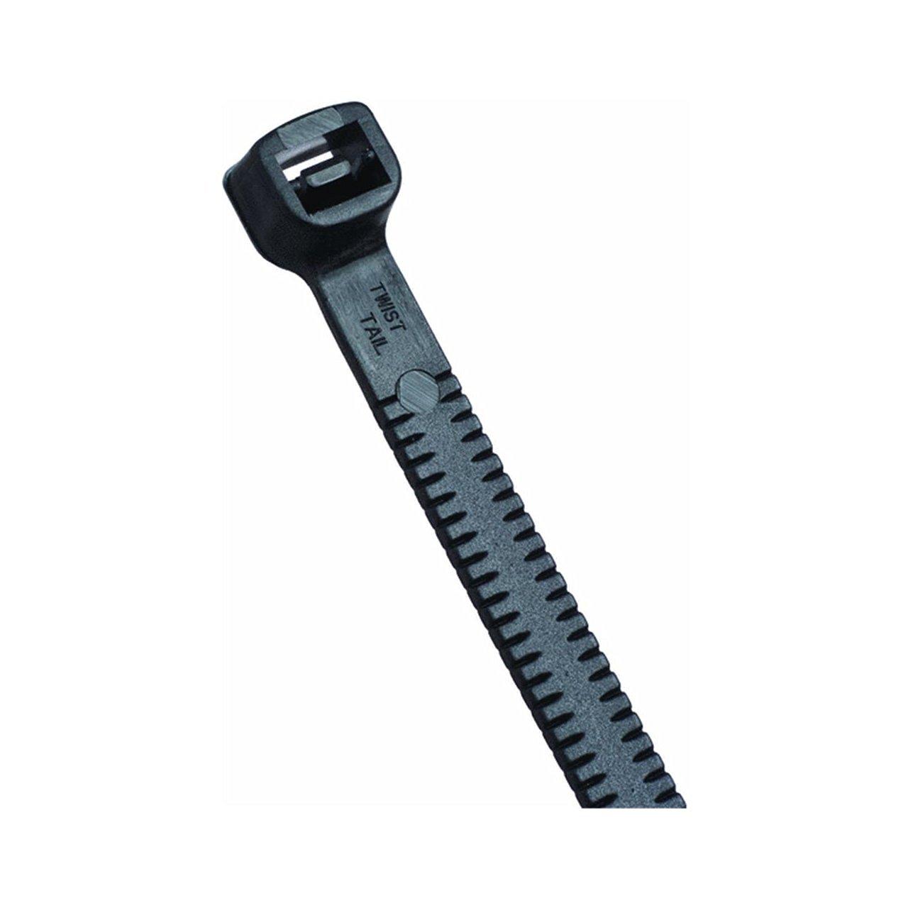 THOMAS & BETTS/CARLON TT-11-30-0-L Twist Tail Cable Tie, 3 in, 6/6 Nylon, Uv, 11.7 in L, Black