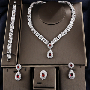 RAKOL S312 Luxury Crystal CZ Zircon Bridal Wedding Women Jewelry Sets Exquisite Teardrop Cubic Zirconia wedding Jewelry Set