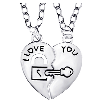2PCS/Set I Love You Heart Lock & Key Pendant Couple Necklace Romantic Fashion Friend Necklace