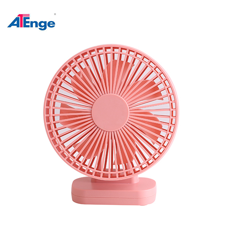Pink Strong Wind Office Small Table USB Desk Fan Battery Operated Mini Fan with Timer