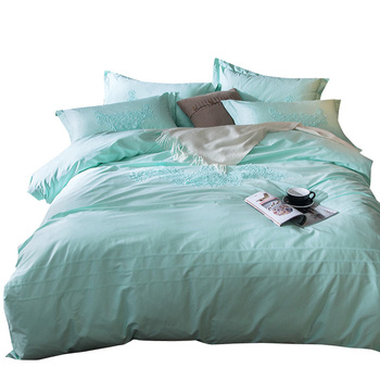 Light green freshness girls 100% cotton bedsheet bedding comforter duvet cover set beds