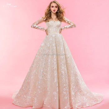 Rsw1322 Wholesale Champagne Colored Lace Puffy Ball Gown Wedding ...
