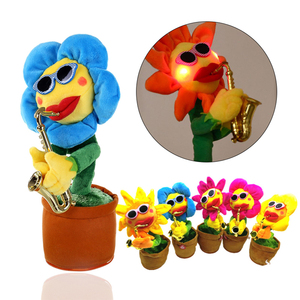 2018 electric voluptuous flower singing and dancing saxophone simulation sunflower plush toy