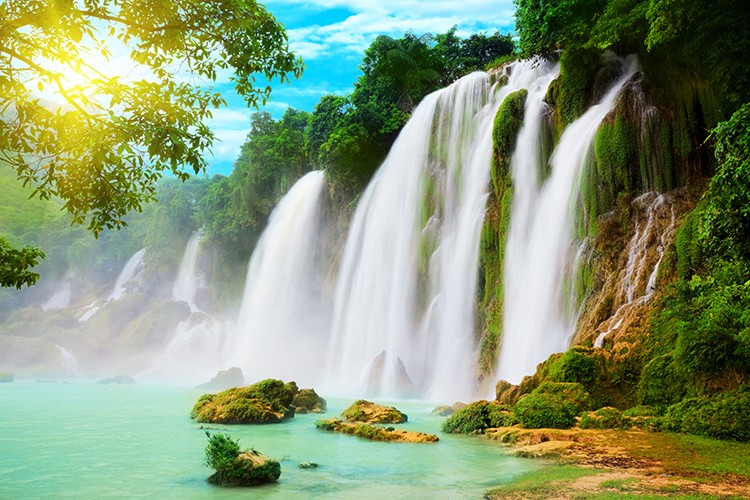 sw-3393] beautiful waterfall scenery wallpaper wall murals for