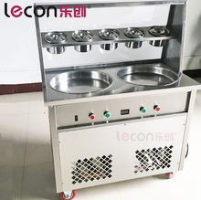 Double flat cold pan ice cream rolls making machine with double control