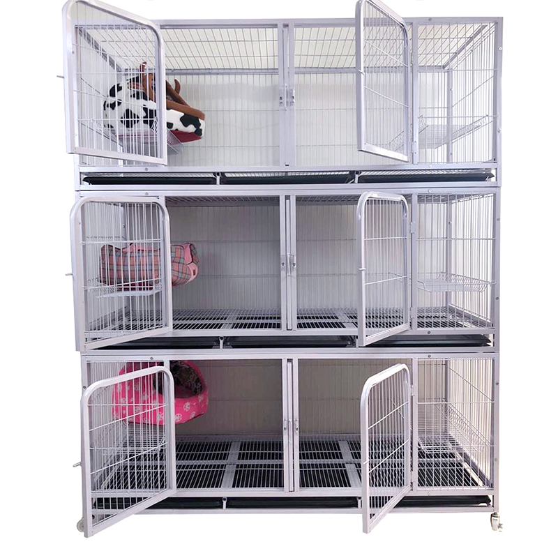 Wholesale 3-storey 6-door breeding square-tube steel wire dog cage cat cage animal cage