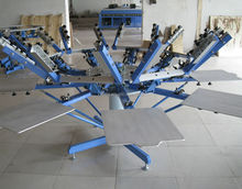Manual 8 color/8 station t shirts carousel/rotary silk screenprint press screen printing machine with micro registration