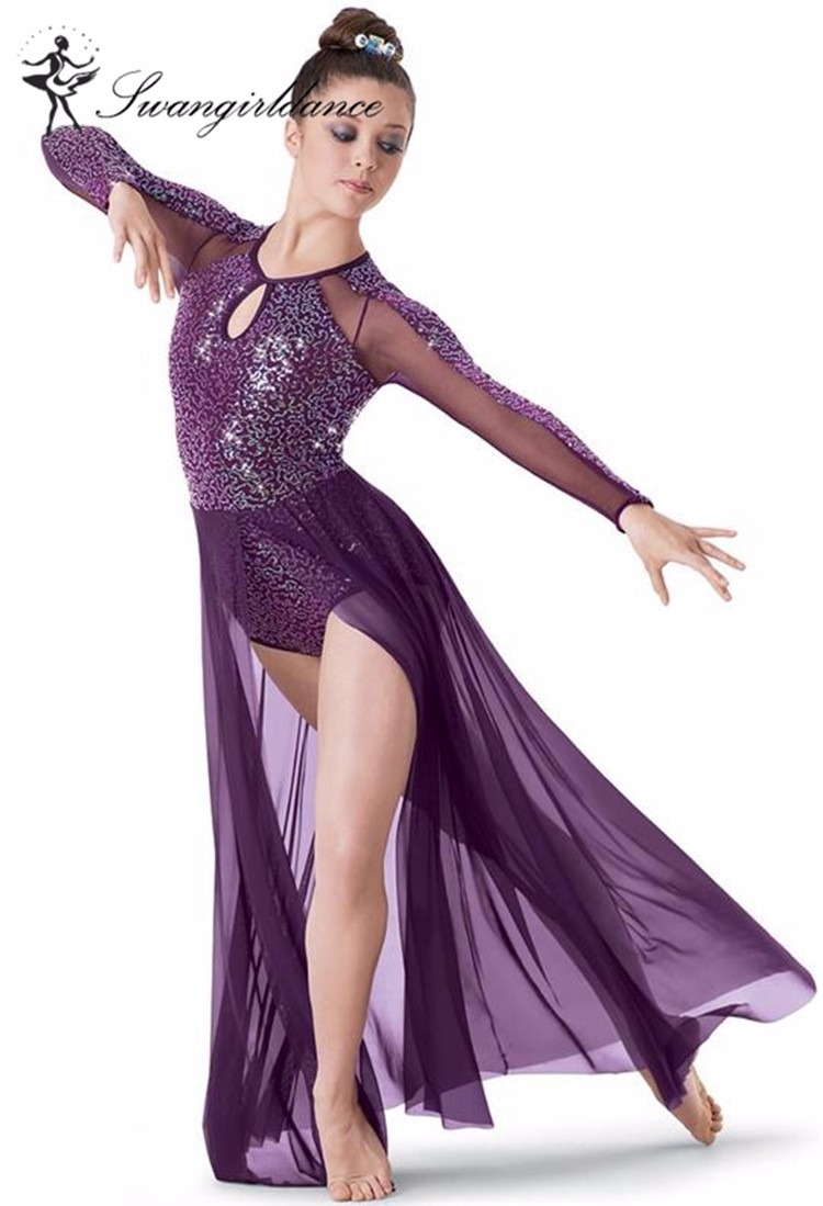 ac98c6309 BL0026 Adult sexy purple sequin ballet lyrical jazz dance dress costumes