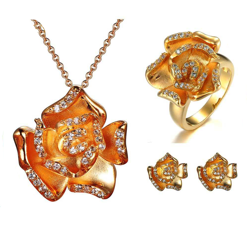 2017 New Design 24k Yellow Gold CZ Stone Rose Flower Jewelry Sets and Gifts for Girls