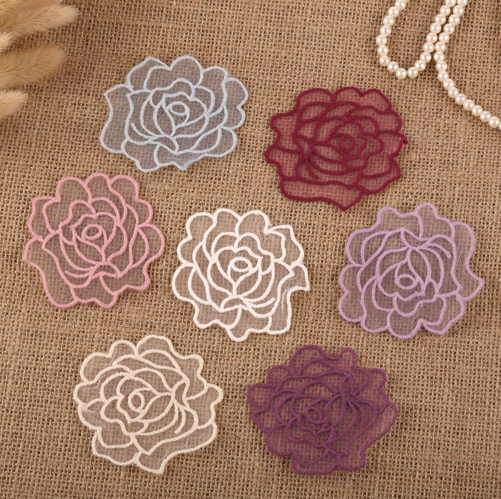 CraftbuddyUS 14 x Vintage Crochet Mixed Lace Flower Rose Stick Sew On Fabric Motifs Patches