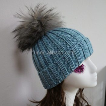 d6e2b73ce54f01 Korean Style Fashion Winter Knitted Hat With Big Raccoon Fur Pompom ...
