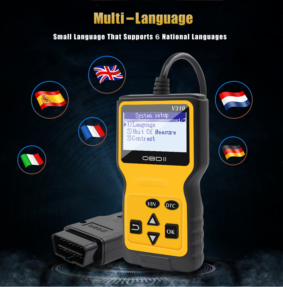 New Arrival V310 OBD2 Reader Scanner Support Multi-languages Car Diagnostic Scanner