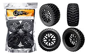 """FireBrand RC """"Saber-VXR"""" 2.2"""" Short Course RACE wheels and VXR (V-Tread Xtreme Race) Short Course Tires, Galaxy Black (Directional, Set of 4 – Pre-Glued) 1:10 Scale RC Wheels"""
