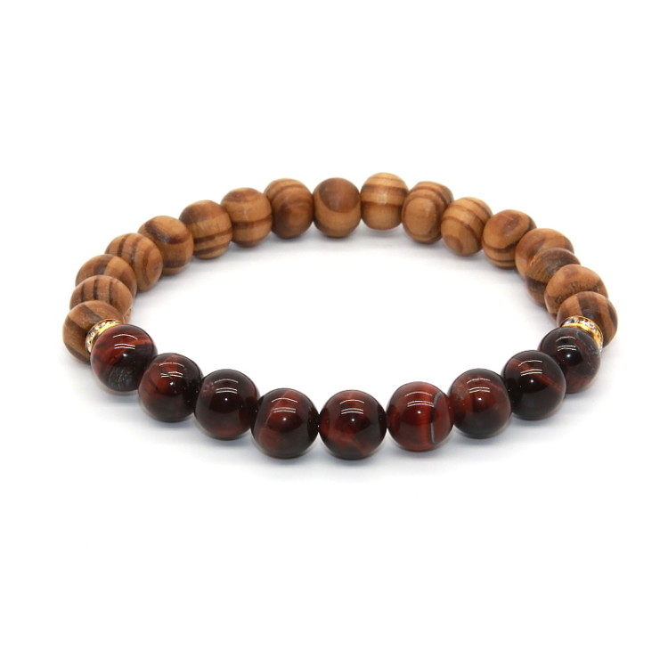 Wholesale Cheapest Price with High Quality <strong>Red</strong> <strong>Tiger</strong> <strong>Eye</strong> Nature Stone Wooden Yoga <strong>Bracelet</strong> for Men and Women