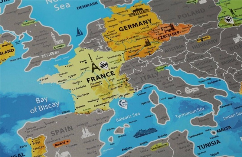 Detailed Europe Map With Scratch Off Stickers Large Size Tube ...