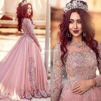 Best selling arab beaded luxury long tail plus size princess puffy muslim blush pink long sleeve wedding dresses MWA05