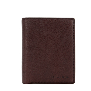 MINANDIO Minimalist thin embossed logo smart card holder stylish black slim genuine leather men's rfid wallets with coin pocket